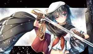 Rating: Safe Score: 68 Tags: anthropomorphism blush cape eyepatch gloves hat kantai_collection kiso_(kancolle) navel petals school_uniform short_hair sword weapon yuihira_asu User: otaku_emmy