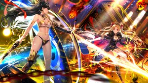 Rating: Safe Score: 93 Tags: 2girls armor black_hair blonde_hair breasts cape chain cleavage dress ereshkigal_(fate/grand_order) fate/grand_order fate_(series) ishtar_(fate/grand_order) long_hair magic navel red_eyes sword swordsouls tiara twintails weapon User: RyuZU