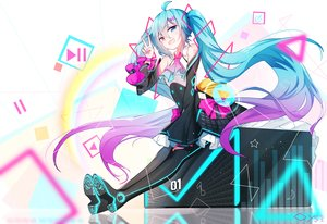 Rating: Safe Score: 49 Tags: aqua_hair bai_yemeng bicolored_eyes boots dress hatsune_miku long_hair signed twintails vocaloid User: Nepcoheart
