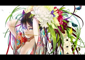 Rating: Safe Score: 109 Tags: black_hair blue_eyes butterfly flowers japanese_clothes kimono long_hair nanahara_shie original User: FormX