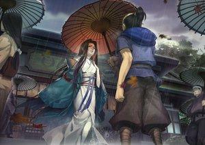 Rating: Safe Score: 104 Tags: black_hair clouds japanese_clothes kimono liduke long_hair male original petals rain short_hair tree umbrella water User: Maboroshi