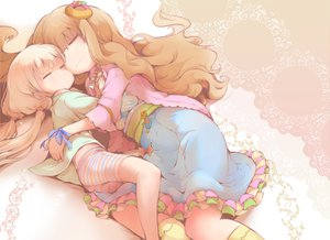 Rating: Safe Score: 94 Tags: dress futaba_anzu idolmaster idolmaster_cinderella_girls jpeg_artifacts long_hair moroboshi_kirari sleeping tagme usoneko User: opai