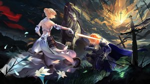 Rating: Safe Score: 130 Tags: animal armor bird cape clouds dark dress fate/stay_night flowers gloves grass horse ice_(805482263) male saber short_hair sky sunset sword tagme_(character) weapon User: Flandre93