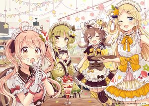 Rating: Safe Score: 35 Tags: apron blonde_hair blue_eyes blush bow brown_hair dress drink fang food fruit gloves green_eyes green_hair group headdress lolita_fashion long_hair original sakura_oriko sketch strawberry twintails waitress watermark wink wristwear yellow_eyes User: sadodere-chan