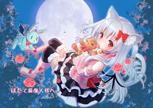 Rating: Safe Score: 43 Tags: animal_ears bell boots bow collar flowers gray_hair loli lolita_fashion long_hair mitake_eiru moon night red_eyes rose signed skirt sky tagme_(character) tail teddy_bear thighhighs vrchat wings zettai_ryouiki User: BattlequeenYume
