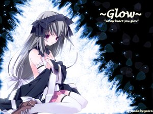 Rating: Safe Score: 54 Tags: bow gloves gray_hair leaves long_hair purple_eyes ruroo thighhighs User: Oyashiro-sama