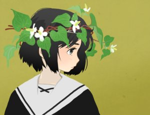 Rating: Safe Score: 59 Tags: akai_sashimi black_hair close flowers gray_eyes green headdress leaves original school_uniform short_hair User: otaku_emmy