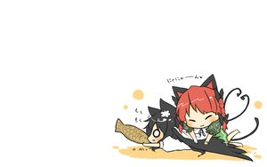 Rating: Safe Score: 53 Tags: animal_ears black_hair blush catgirl cat_smile chibi food kaenbyou_rin red_hair reiuji_utsuho tail taiyaki touhou viva!! white wings User: SciFi