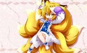 Rating: Safe Score: 32 Tags: animal_ears blonde_hair dress fang foxgirl kazami_karasu loli multiple_tails pink short_hair socks tail touhou yakumo_ran yellow_eyes User: otaku_emmy