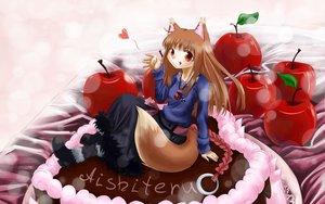 Rating: Safe Score: 9 Tags: animal_ears apple cake dress food fruit horo long_hair ookami_to_koushinryou orange_hair red_eyes tail wolfgirl User: kisava77