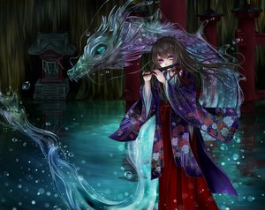 Rating: Safe Score: 134 Tags: blacksio brown_hair dragon flute instrument japanese_clothes long_hair miko original purple_eyes water User: FormX