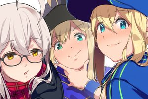 Rating: Safe Score: 35 Tags: aqua_eyes artoria_pendragon_(all) blonde_hair blush close fang fate/grand_order fate_(series) glasses gray_hair green_eyes hat mysterious_heroine_x mysterious_heroine_x_alter mysterious_heroine_xx_(foreigner) scarf suppa_(user_jrnj5558) wristwear yellow_eyes User: otaku_emmy