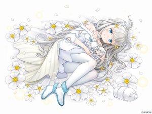 Rating: Safe Score: 18 Tags: animal aqua_eyes blush boots doll dress flowers gray_hair long_hair monmusu_harem namaru_(summer_dandy) pantyhose petals sharon_(monmusu_harem) tears twintails white User: otaku_emmy