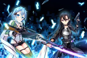 Rating: Safe Score: 155 Tags: grandia_(artist) gun gun_gale_online kirigaya_kazuto shinon_(sao) sword sword_art_online weapon User: FormX