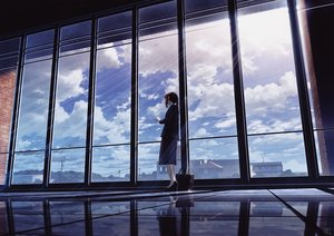 Rating: Safe Score: 65 Tags: building clouds long_hair mocha_(cotton) original ponytail reflection scenic signed skirt sky suit User: FormX