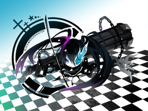 Rating: Safe Score: 56 Tags: black_rock_shooter chibi gun kuroi_mato sword weapon User: HawthorneKitty