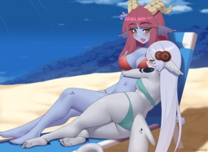 Rating: Safe Score: 29 Tags: 2girls aliasing animal_ears ass barefoot bikini blush breasts cleavage clouds gray_hair horns hug kuroonehalf original red_hair shoujo_ai sky swimsuit tail watermark yellow_eyes User: sadodere-chan