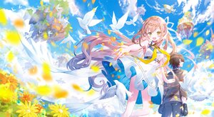 Rating: Safe Score: 51 Tags: animal bird clouds dress flowers ibara_riato male original sky User: BattlequeenYume