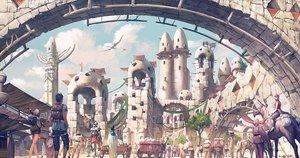 Rating: Safe Score: 37 Tags: animal building city clouds horse male noba original pixiv_fantasia short_hair signed skirt sky sword weapon User: RyuZU