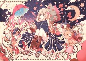 Rating: Safe Score: 113 Tags: book boots gensou_aporo long_hair moon orange_hair original teddy_bear umbrella User: Flandre93