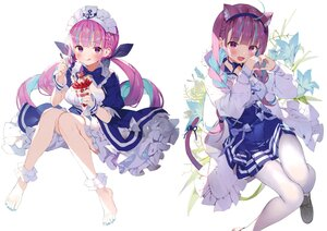Rating: Safe Score: 50 Tags: animal_ears barefoot braids catgirl flowers food fruit headband hololive ice_cream long_hair maid matsui_hiroaki minato_aqua pantyhose purple_eyes purple_hair scan strawberry tail third-party_edit twintails white User: BattlequeenYume