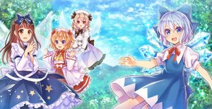 Rating: Safe Score: 46 Tags: blonde_hair blue_eyes blue_hair blush bow brown_eyes brown_hair cirno clouds dress fairy forest group hat long_hair luna_child neme purple_eyes red_eyes ribbons short_hair sky star_sapphire sunny_milk touhou tree wings User: RyuZU