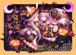 Rating: Safe Score: 116 Tags: 2girls animal animal_ears aqua_eyes ass bunny_ears bunnygirl cat fantasy_frontier halloween long_hair pink_eyes pink_hair pumpkin shennai_misha tagme_(character) tail thighhighs white_hair wings witch User: Wiresetc