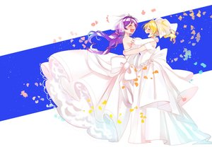 Rating: Safe Score: 13 Tags: 2girls ayase_eri blonde_hair breasts love_live!_school_idol_project petals purple_hair shima_(mahirooon) toujou_nozomi wedding_attire User: FormX