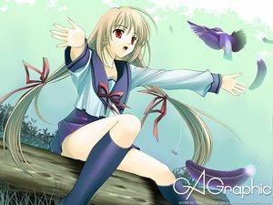 Rating: Safe Score: 9 Tags: animal bird blonde_hair feathers gagraphic logo long_hair naruse_hirofumi seifuku skirt watermark User: Oyashiro-sama
