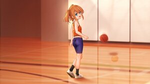 Rating: Safe Score: 42 Tags: aqua_eyes ass basketball bike_shorts brown_hair cropped endou_hiroto loli original shorts sport third-party_edit twintails User: gnarf1975