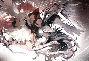 Rating: Safe Score: 160 Tags: 2girls akemi_homura akuma_homura black_hair choker dress gray kaname_madoka mahou_shoujo_madoka_magica nine_(liuyuhao1992) pink_hair thighhighs ultimate_madoka wings User: Flandre93
