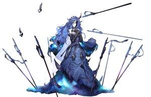 Rating: Safe Score: 65 Tags: armor blue_hair dabuki dress headband horns knight_of_despair lobotomy_corporation long_hair sword weapon white yellow_eyes User: Dreista