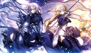 Rating: Safe Score: 203 Tags: armor blonde_hair blue_eyes braids fate/grand_order fate_(series) jeanne_d'arc_alter jeanne_d'arc_(fate) long_hair ponytail shinooji short_hair thighhighs weapon yellow_eyes User: Flandre93