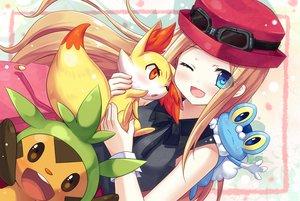Rating: Safe Score: 130 Tags: blue_eyes chespin fennekin froakie goggles hat mitsuki pokemon wink User: opai