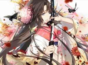 Rating: Safe Score: 93 Tags: blue_eyes brown_hair butterfly close fate/grand_order fate_(series) flowers fukuda935 japanese_clothes kara_no_kyoukai katana kimono long_hair ryougi_shiki sword weapon User: BattlequeenYume