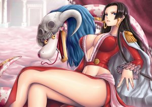 Rating: Safe Score: 286 Tags: black_hair blue_eyes boa_hancock breasts cleavage one_piece salome_(one_piece) yumiyokiak User: FormX