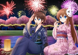 Rating: Safe Score: 43 Tags: cherry_blossoms fireworks flowers food grass japanese_clothes kazenokaze male mask night original scenic taiyaki tree water yukata User: RyuZU