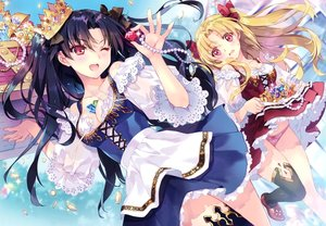 Rating: Safe Score: 72 Tags: 2girls black_hair blonde_hair breasts carnelian cleavage crown dress ereshkigal_(fate/grand_order) fate/grand_order fate_(series) ishtar_(fate/grand_order) lolita_fashion long_hair necklace panties red_eyes scan skirt_lift thighhighs twintails underwear upskirt wink User: otaku_emmy
