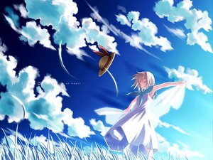 Rating: Safe Score: 37 Tags: clouds dress grass hat sky tsukishiro_hikari wind:_a_breath_of_heart User: WhiteExecutor