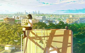Rating: Safe Score: 25 Tags: brown_hair building city clouds drink kneehighs loundraw original paper rooftop scenic seifuku short_hair signed skirt sky User: RyuZU