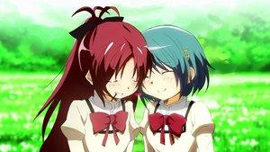 Rating: Safe Score: 40 Tags: 2girls blue_hair blush long_hair mahou_shoujo_madoka_magica miki_sayaka ponytail red_hair sakura_kyouko short_hair User: w7382001