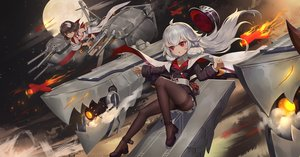 Rating: Safe Score: 86 Tags: 2girls anthropomorphism azur_lane brown_hair cape fire flat_chest graf_zeppelin_(azur_lane) gray_hair hiei_(azur_lane) hiei-chan_(azur_lane) horns katana loli long_hair military moon moonofmonster night pantyhose red_eyes short_hair sky sword uniform weapon yellow_eyes zeppelin-chan_(azur_lane) User: Dreista