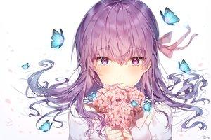 Rating: Safe Score: 80 Tags: butterfly close fate_(series) fate/stay_night flowers long_hair matou_sakura purple_eyes purple_hair signed taya_(pixiv5323203) tears white User: RyuZU