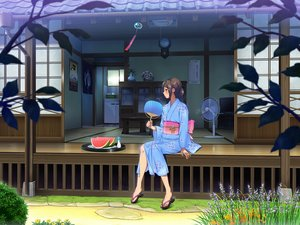 Rating: Safe Score: 161 Tags: brown_hair fan flowers food fruit japanese_clothes original scenic studio_outline summer watermelon yukata User: FormX