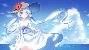 Rating: Safe Score: 49 Tags: animal_ears aqua_eyes clouds dress flowers hat long_hair mechuragi original signed skirt_lift sky summer_dress twintails water white_hair User: RyuZU