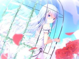 Rating: Safe Score: 59 Tags: blue_eyes cage clouds flowers gochuumon_wa_usagi_desu_ka? kafuu_chino kouda_suzu loli long_hair rose skirt sky white_hair wings User: BattlequeenYume