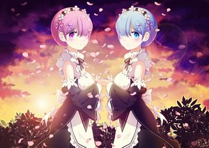 Rating: Safe Score: 98 Tags: 2girls chan_yuan headband jpeg_artifacts petals ram_(re:zero) rem_(re:zero) re:zero_kara_hajimeru_isekai_seikatsu twins watermark User: RyuZU
