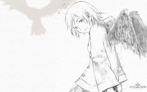 Rating: Safe Score: 18 Tags: animal bird haibane_renmei halo monochrome rakka sketch wings User: 秀悟