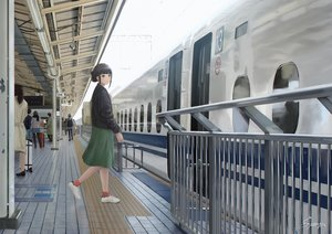 Rating: Safe Score: 33 Tags: black_hair green_eyes group kurosawa_dia love_live!_school_idol_project love_live!_sunshine!! papi_(papiron100) short_hair skirt train User: RyuZU