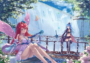Rating: Safe Score: 84 Tags: 2girls angel animal aqua_eyes aqua_hair ass bird boots bow breasts butterfly clouds cross dress elbow_gloves feathers flowers fuuro_(johnsonwade) gloves instrument long_hair navel original pink_eyes red_hair short sky sword thighhighs water waterfall weapon wings User: RyuZU